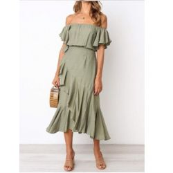 Fast Fashion - Olive Off The Shoulder Frill  Dress