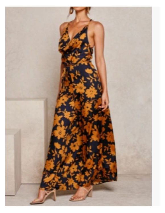 Fast Fashion - Navy Mustard Floral Jumpsuit