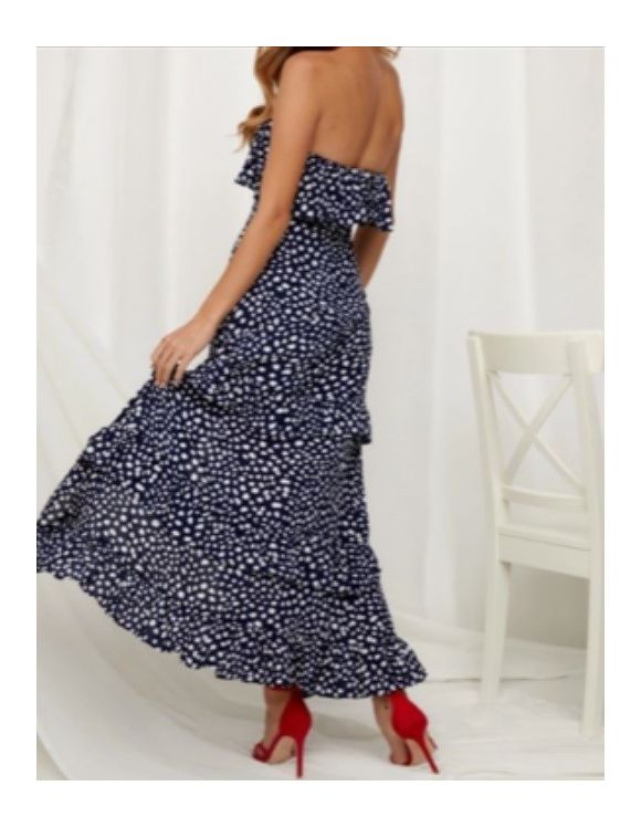 Fast Fashion - Navy with White Strapless Maxi Dress